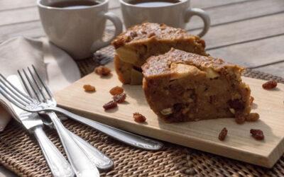 Broodpudding met peperkoek en peer