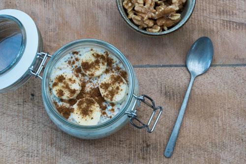 Overnight oats met chiazaad en banaan